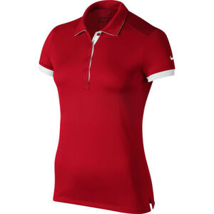 Nike Golf Womens Dri-Fit Solid Victory Swoosh Polo Shirt Team Red New