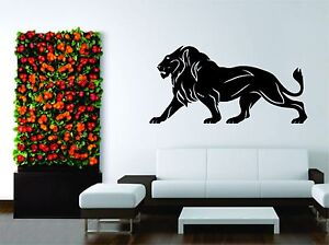 Wall Mural Vinyl Decal Sticker Tribal Hunter Hunting Lion Wild Animal Design