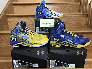 RARE DS UNDER ARMOUR ANATOMIX SPAWN STEPH CURRY PE SET SZ 9 bay splash rings mvp