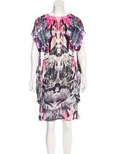 ALEXANDER MCQUEEN CRYSTAL KALEIDOSCOPE DRAPED DRESS. Size: S. US. 4. IT40