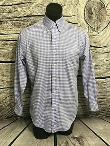 Brooks Brothers Sport Mens Purple Plaid Button Down Long Sleeve Shirt Size S
