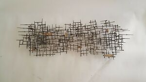 Abstract Brutalist Metal Wall Sculpture with Bronze - Jere William Bowie $475.00