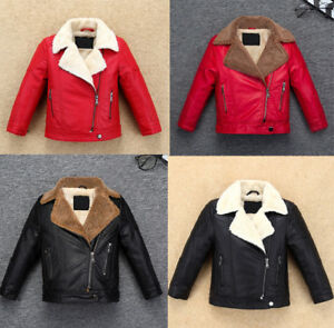 Winter Toddler Kids Boy Girl Leather Fleece Jacket Thick Coat Fur Lapel Outwear