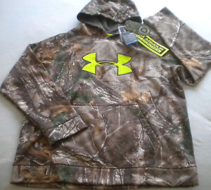 NWT $65 Boy's UNDER ARMOUR Scent-Control HUNTING HOODIE RealTree X-Green XL Camo