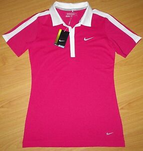 NWT NIKE Womens Dri-Fit Dotty Design Stretch Golf Polo Shirt ST Pink White S