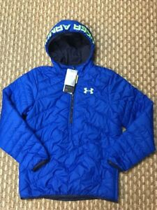 Under Armour Coldgear Youth Boy Hybrid Half Zip Quilted Hoodie Sweater Sz Large