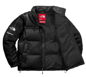 Supreme x The North Face Leather Nuptse Jacket Black Size SMALL RARE! Confirmed