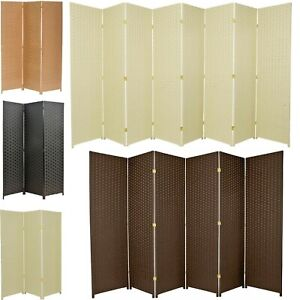 3 4 5 6 7 8 10 Panel Room Divider Privacy Screen Weave Design Fiber Black Brown