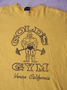 Vintage 80s Golds Gym Venice California Rare T Shirt L Yellow