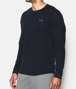 New Mens Under Armour Black Loose Fit Waffle Knit Henley Top MSRP $40 Shirt XL