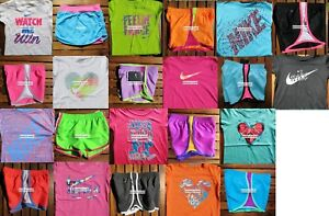 GIRLS SIZE 5 NIKE ~ RUNNING SHORTS ~ T-SHIRTS ~ 10-12 pc ~ 2 CHOICES ~ $275 NWT