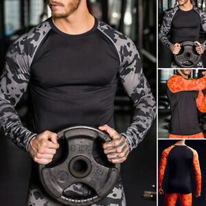 Winter Mens Thermal Underwear Set Fitness Quick Dry Compression Shirt+Pants Camo
