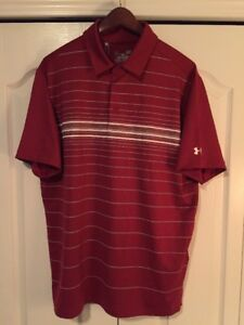 ⛳New Under Armour HeatGear Coldblack Mens Large-L GolfPolo Shirt-Crimson Red