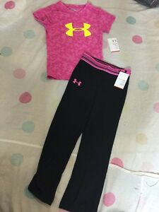 Under Armour Girls Big Logo Tee & Alpha Yoga Pants Size Size 4 Pink & Black