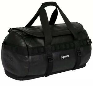 Supreme x The North Face Leather Base Camp Duffel Backpack Black FW 17
