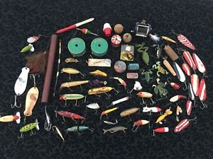 Giant Lot Of Antique Vintage Fishing Lures Spoons Ect