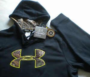 NWT $70 Men's UNDER ARMOUR STORM 1 Real Tree Camo HOODIE XLT XL TALL Black