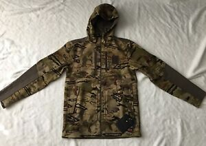 Under Armour Hunting Medium Jacket Ridge Reaper Hooded Camo Coat Combat $300 NEW