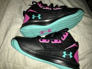 Under Armour Toddler girls Basketball Shoes Size 11.5 BlackPinkGreen Exc Cond!