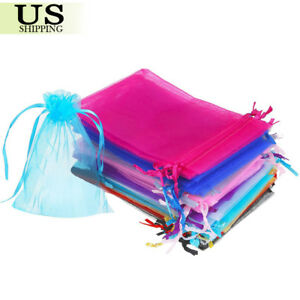 100 200 Organza Gift Bags Wedding Favor Party Sheer Candy Bag Jewelry Pouches