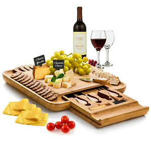 Bambusi Bamboo Cheese Board amp; Cutlery Set w Slide Out Drawer 4 Stainless Knife