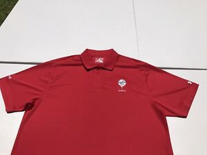 UNDER ARMOUR LOOSE HEAT GEAR GOLF CLUB RED POLO SHIRT DRY FIT XXL SS EUC