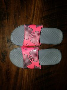 Girls Pink Under Armour Soccer Basketball Slides Sandals Size Youth 3