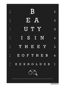 Beer Beer Lover Eye Chart Bar Art Home Bar Man Cave Funny Quote