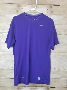 Nike Pro Mens Large Dry Fit Purple Compression Athletic Gym Short Sleeve Shirt