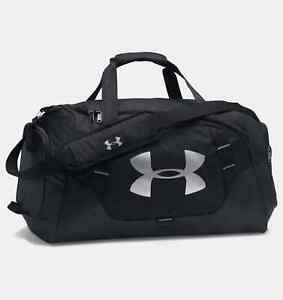 UA UNDER ARMOUR HUSTLE DUFFEL BLACK GYM BAG WET DRY SHOE POCKET WATER RESIST NEW $34.55