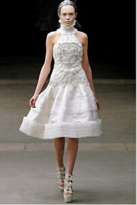 Alexander McQueen Runway 38 White Silk Embroidered $31000 Wedding with Shoes 37