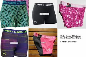 UNDER ARMOUR 5pc GIRLS LARGE FITTED SHORTS ~ GYMNASTICS DANCE x 5 PAIRS ~ $125