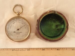 Antique NEGRETTI & ZAMBRA LONDON Gentleman's Brass Pocket Barometer Altimeter