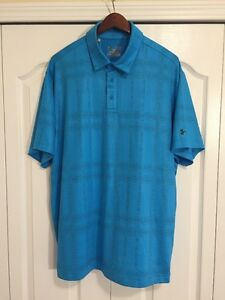 ⛳New Under Armour HeatGear Coldblack Mens XL GolfPolo Shirt -Aqua Blue Dots-$80