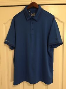 ⛳New Under Armour HeatGear Coldblack Mens Large-L GolfPolo Shirt -Solid Blue