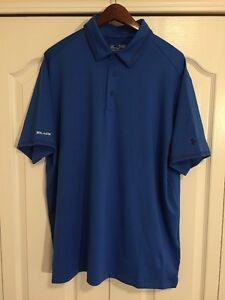 ⛳New Under Armour HeatGear Coldblack Mens XL GolfPolo Shirt -Solid Blue -$80