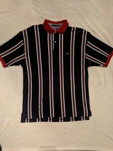 VINTAGE 90S TOMMY HILFIGER RED STRIPED CREST SS POLO SHIRT CASUAL SPORT MENS L