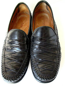 Brass Boot Men's Dress Shoes Size 10.5 M Black Leather With Basketweave Design