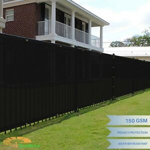 6'x50' Black Windscreen Privacy Fence Shade Cover Mesh Outdoor Lawn Construction