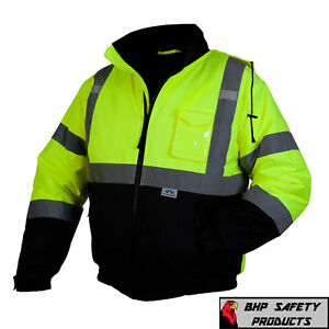Pyramex Hi Vis Class 3 Insulated Safety Bomber Reflective Jacket ROAD WORK M 4XL