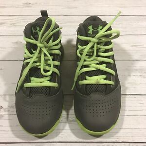 Under Armour Boys Gray and Lime Green Jet Mid Tennis Shoes Size 2Y USA GUC
