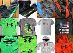UNDER ARMOUR BOYS 4 ~ TRACK PANTS ~T-SHIRTS & HOODIES SIZE 5 ~ NWT ~ $375