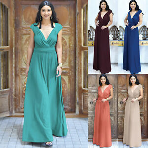 Womens Long Cap Short Sleeve Elegant Formal Cocktail Evening Gown Maxi Dress