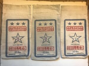 Starshot 25 Pound Clothe Bag No. 8 and 9 Chilled Hard Lead Shot LOT