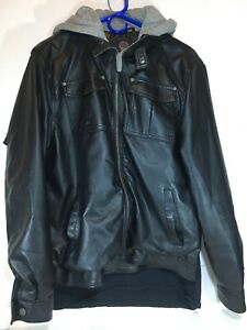 Sportier Leather Jacket With Gray Hoodie medium men's