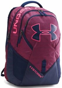 New Men's Under Armour UA Big Logo IV Backpack - 1263965-602 Pink Black