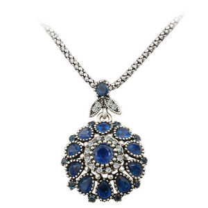 Evil Eye Style Turkish Hurrem Style CZ Sapphire Pendant Necklace Jewelry Gift