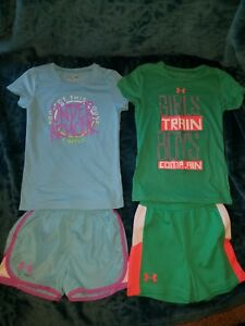 Under Armour Toddler Girls Hoodie Size 5 shorts 6x shirts
