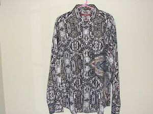 Robert Graham Mens Shirt 2XL  Paisley Wild Print Classic Fit Dry Cleaned WOW