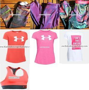 UNDER ARMOUR GIRLS SMALL 7pc ~ CAPRI LEGGINGS ~ T-SHIRTS ~ HOODIES $195